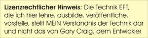 EFT Lizenzhinweis Gary Craig